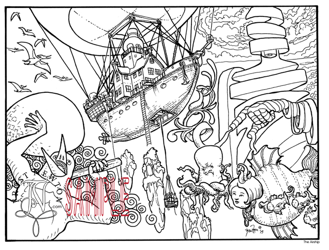 coloring book page The Airship